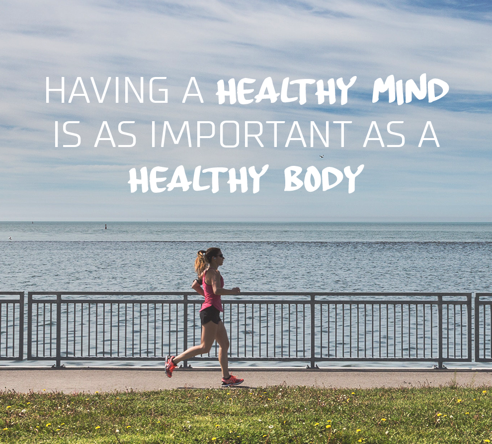 Woman jogging by large body of water with text Having a Healthy Mind is as Important as a Healthy Body - How Your Thoughts Affect Your Health blog post
