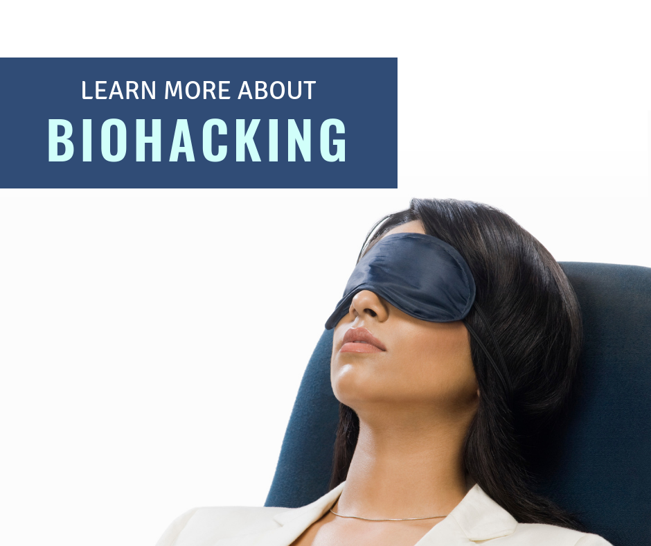Woman sitting with Eye Cover - Learn More About Biohacking image for blog post