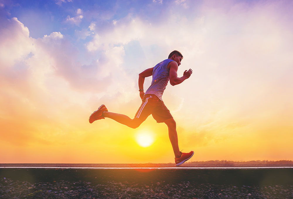 Male jogger outside running