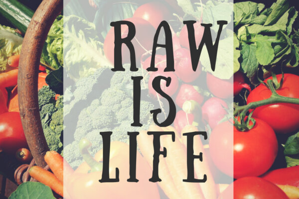 Vegetable in a basket with text Raw is Life - Conquer Inflammation Naturally blog post